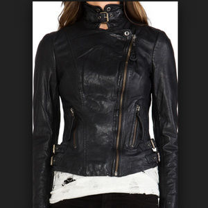 Muubaa Reval Leather Biker Jacket US 8 10 12